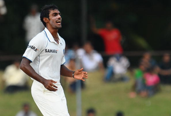 Indian cricketer Abhimanyu Mithun reacts