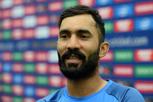 LONDON, UNITED KINGDOM - MAY 30: Dinesh Karthik of India during the ICC Champions Trophy Warm-up match between India and Bangladesh at the Kia Oval on May 30, 2017 in London, England. (Photo by Harry Trump - IDI/IDI via Getty Images)