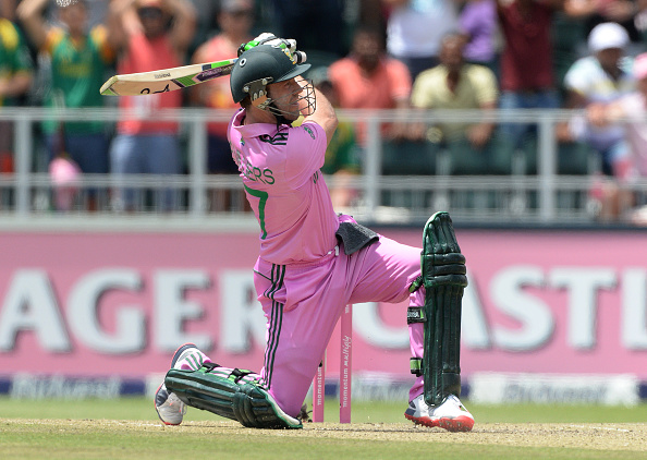 JOHANNESBURG, SOUTH AFRICA - JANUARY 18: AB de Villiers of South Africa hits another six during the 2nd Momentum ODI between South Africa and West Indies at Bidvest Wanderers Stadium on January 18, 2015 in Johannesburg, South Africa. (Photo by Duif du Toit/Gallo Images/Getty Images)