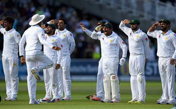 LONDON, ENGLAND - JULY 17:  The Pakistan team celebrate after winning the match by 75 runs during day four of the 1st Investec Test match between England and Pakistan  at Lord