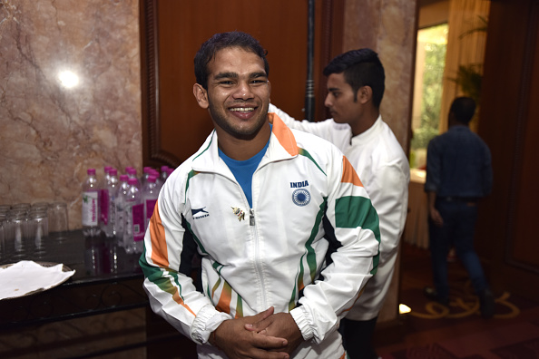 NEW DELHI, INDIA - JULY 4: Rio Olympic bound wrestler Narsingh Yadav during a function organised by Olympians Association of India on July 4, 2016 in New Delhi, India. Prime Minister Narendra Modi met the Indian athletes, who will represent the country at the forthcoming Olympic Games in Rio de Janeiro, Brazil, and wished them luck. India will be sending its biggest ever contingent to the Olympics this year with more than 100 athletes having already qualified in 13 sporting disciplines. The previous highest was 83 that the country sent in the 2012 Olympics in London. (Photo by Virendra Singh Gosain/Hindustan Times via Getty Images)