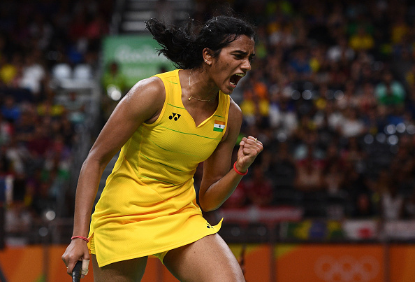 RIO DE JANEIRO, BRAZIL - AUGUST 18: Pusarla V Sindhu of India celebrates winning a point during the Women