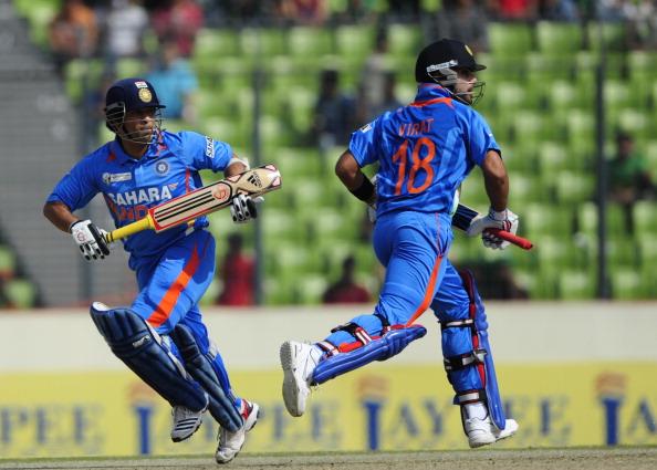 Indian batsman Sachin Tendulkar (L) and
